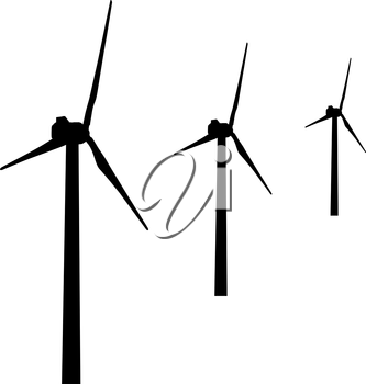 windmills for electric power production.  vector illustration
