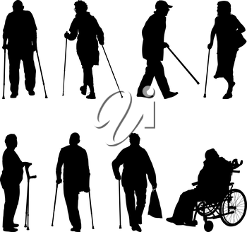 Set ilhouette of disabled people on a white background. Vector illustration.