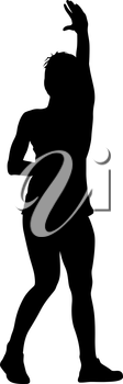 Black silhouettes of beautiful woman with arm raised. Vector illustration.