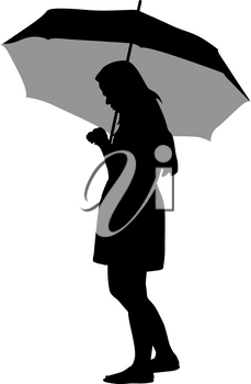 Black silhouettes of women under the umbrella.