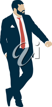 Silhouette businessman man in suit with tie on a white background.