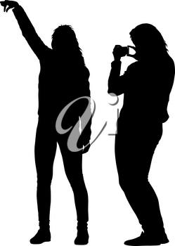 Silhouettes woman taking selfie with smartphone on white background.