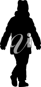 Silhouette of a walking girl on a white background.
