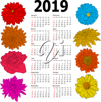 Stylish calendar with flowers for 2019. Week Sundays first.