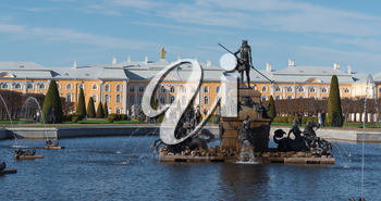 ST. PETERSBURG, RUSSIA, May 12, 2018: Time lapse Petergof or Peterhof, known as Petrodvorets from 1944 to 1997 and Neptune Fountain on May 12, 2018 in St. Petersburg, Russia.