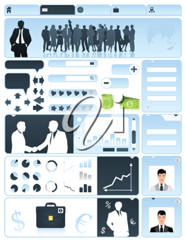 Business a site in dark blue tones. A vector illustration