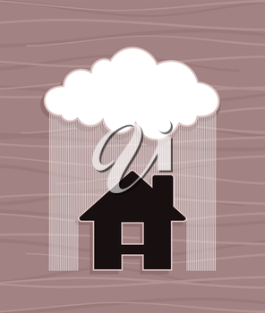 The house under a rain. A vector illustration