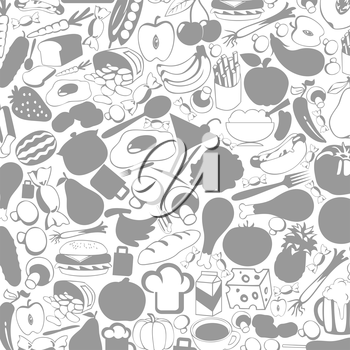 Grey background on a theme food. A vector illustration