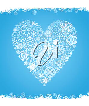 Heart made of snowflakes on a blue background. A vector illustration