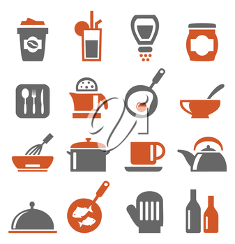Set of icons on a theme kitchen. A vector illustration