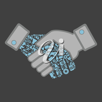 Hand shake made of the industry. Vector illustrations