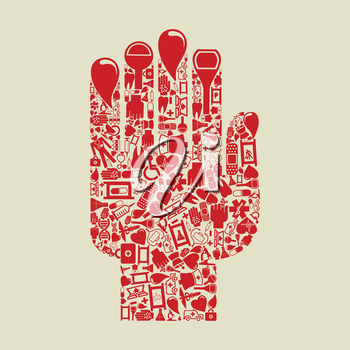 Hand from medicine subjects. A vector illustration