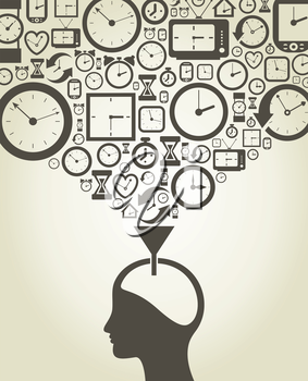 The person thinks of time. A vector illustration