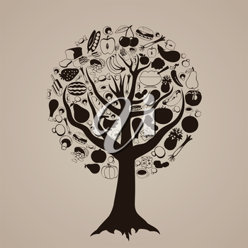 Brown tree from food. A vector illustration