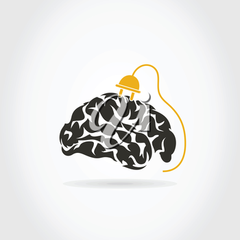 Brain on a grey background. A vector illustration