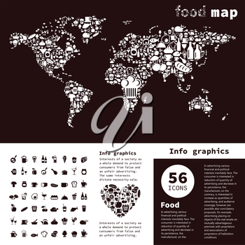 map made of food. A vector illustration