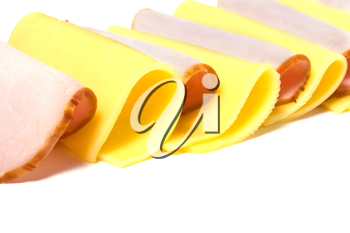 meat and cheese slices isolated on white