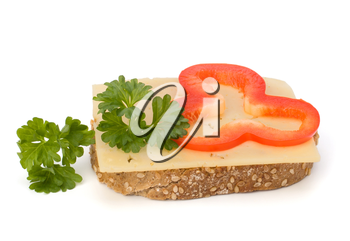 sandwich with vegetable  isolated on white background