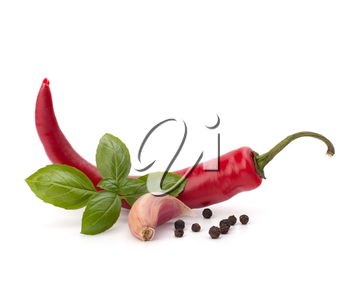 Chili pepper and spice isolated on white background