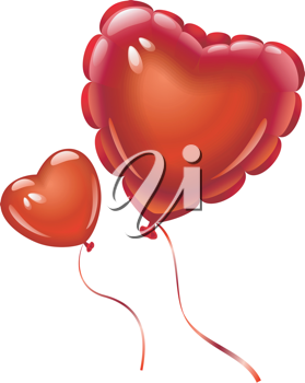 Royalty Free Clipart Image of Heart Balloons