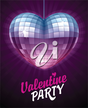Royalty Free Clipart Image of a Heart Shaped Disco Ball