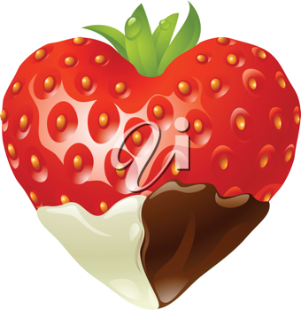 Royalty Free Clipart Image of a Heart Shaped Chocolate Strawberry