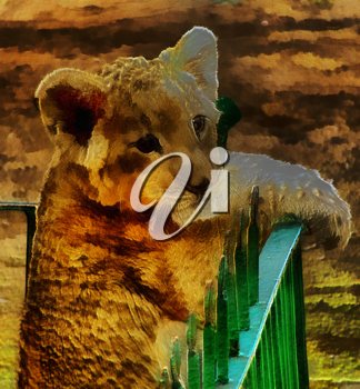 Royalty Free Photo of a Lion Cub Painting