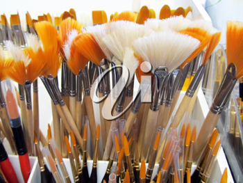 Royalty Free Photo of a Display of Brushes