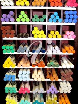 Royalty Free Photo of a Display of Pastel Crayons