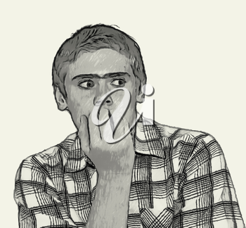 Sketch Teen boy body language expressions - Nervous biting nails