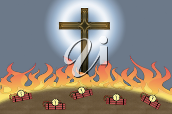 Attack on Christianity flames and bombs at the foot of Christian Cross