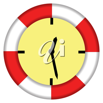 Illustrating the expression - saving time with lifebuoy and clock