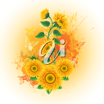 Royalty Free Clipart Image of Butterflies and Sunflowers