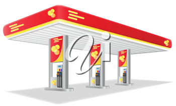 Royalty Free Clipart Image of a Gas Station