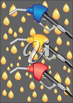 Royalty Free Clipart Image of Gas Pump Nozzles