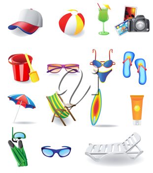 Royalty Free Clipart Image of Beach Items