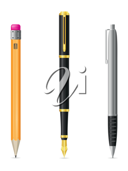 Royalty Free Clipart Image of Writing Instruments