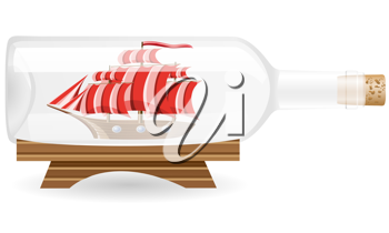 Royalty Free Clipart Image of a Ship in a Bottle