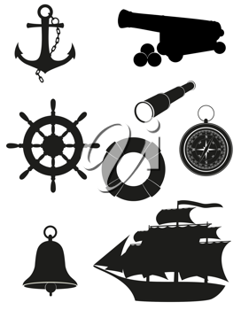 Royalty Free Clipart Image of a Sea Silhouattes