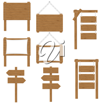 Royalty Free Clipart Image of a Wooden Sign Set