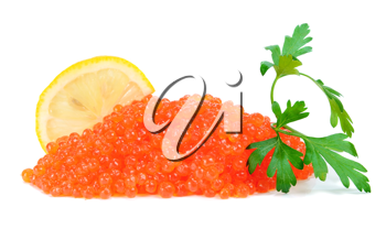 caviar red in a glass jar with lemon and parsley isolated on white background