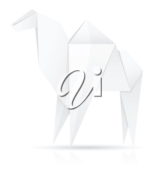 origami paper camel vector illustration isolated on white background