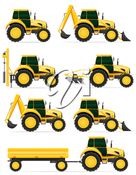 set icons yellow tractors vector illustration isolated on white background