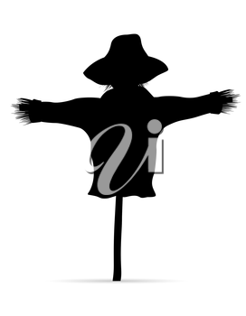 scarecrow black silhouette vector illustration isolated on white background