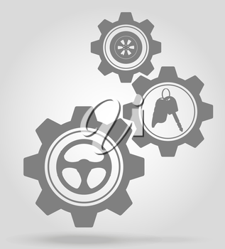 transport gear mechanism concept vector illustration isolated on gray background