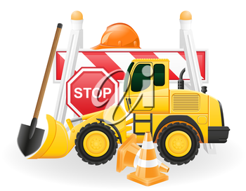 road works concept icons vector illustration isolated on white background