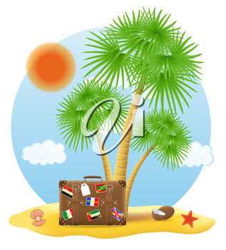 suitcase standing under a palm tree vector illustration isolated on white background