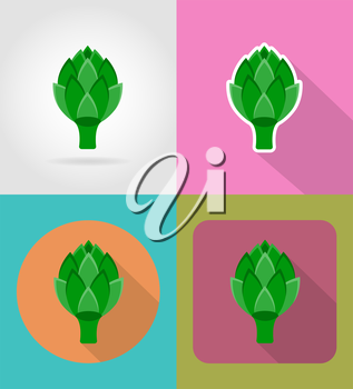 artichoke vegetable flat icons with the shadow vector illustration isolated on background
