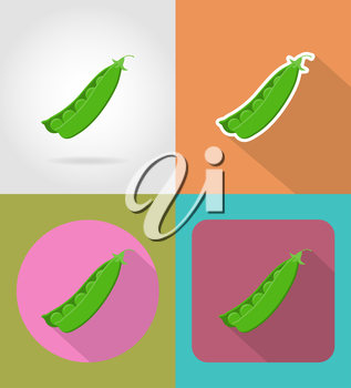 peas vegetable flat icons with the shadow vector illustration isolated on background