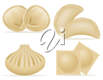 dumplings of dough with a filling set icons vector illustration isolated on white background
